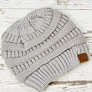 CC Silver Metallic Knit Beanie - Women NEW!